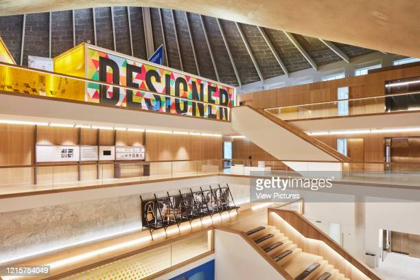 Overall view of museum interior with exhibition spaces. Indigo; A Cultural Iconography at Design Museum London, London, United Kingdom. Architect:...