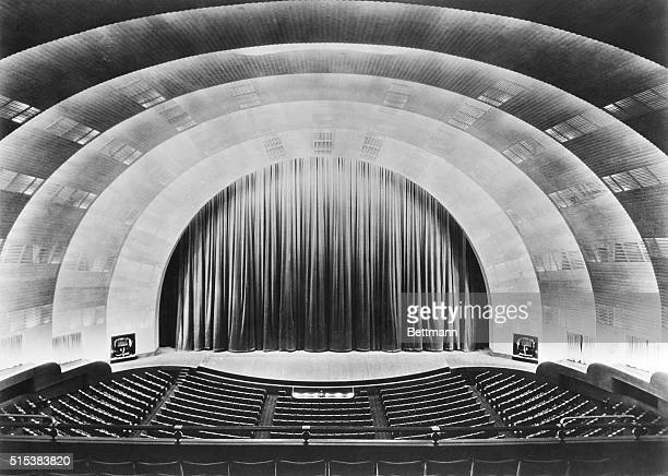 Overall view of stage and proscenium of Radio Cirty Music Hall