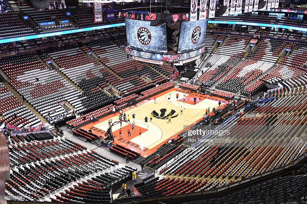 Overall view of the Air Canada Centra before the game between the Toronto Raptors and the Indiana Pacers in Game One of the Eastern Conference Quarterfinals during the 2016 NBA Playoffs on April 16 at the Air Canada Centre in Toronto, Ontario, Canada.