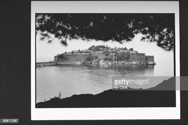 Overall view of the picturesque island of Sveti Stefan on the Adriatic where former US chess champion Bobby Fischer Soviet challenger Boris Spassky...