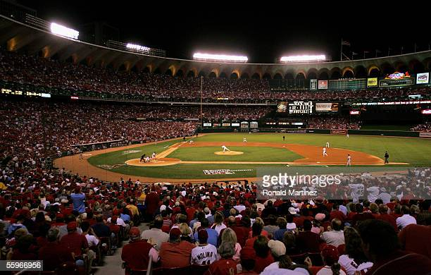 Overall view of the start of Game Six of the National League Championship Series against the Houston Astros and the St. Louis Cardinals on October...