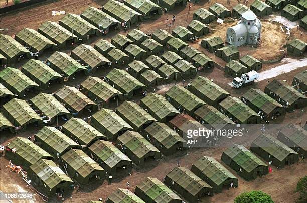 Overall view shows tent compound 15 September 1999 used to accommadate the more than 1500 East Timorese refugees who arrived in Darwin 14 September A...