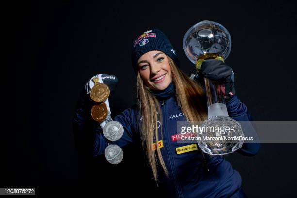 Overall winner Dorothea Wierer of Italy competes during the Women 10 km Pursuit Competition at the BMW IBU World Cup Biathlon Kontiolahti on March...