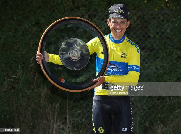 Overall winner Esteban Chaves of Columbia and the MitcheltonScott Team poses for a photo with his trophy Jayco Herald Sun Tour stage 4 1521km road...
