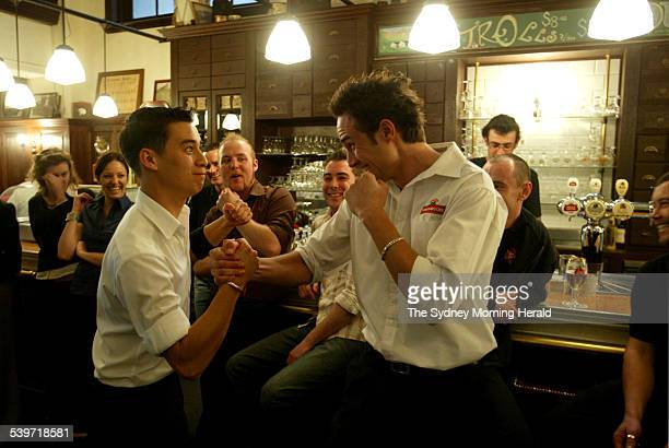 Overall winner Max Dubios right and Declan Walsh congratulate each other after the Stella Artois 2005 Draught Masters Competition State Finals at the...