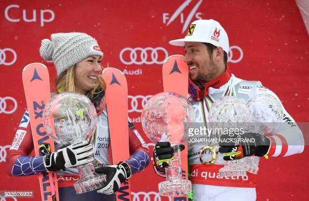 TOPSHOT Overall Winner of the Women's Alpine Skiing World Cup Mikaela Shiffrin of the US and Overall Winner of the Men's Alpine Skiing World Cup...