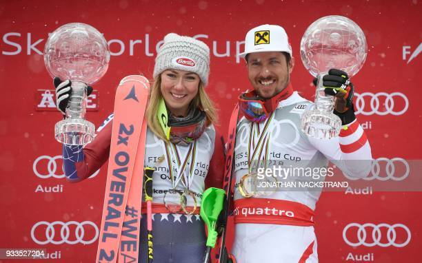 Overall Winner of the Women's Alpine Skiing World Cup Mikaela Shiffrin of the US and Overall Winner of the Men's Alpine Skiing World Cup Marcel...