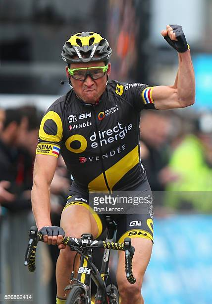 Overall winner Thomas Voeckler of Direct Energie and France celebrates winning the third stage of the 2016 Tour de Yorkshire between Middlesbrough...