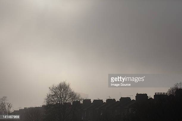 Overcast sky above terraced houses