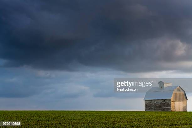 Overcast sky over barn, Cedar Falls, Iowa, USA