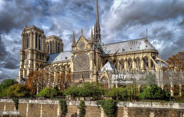 overcast sky over cathedral, notre dame cathedral, paris, france - notre dame de paris photos et images de collection