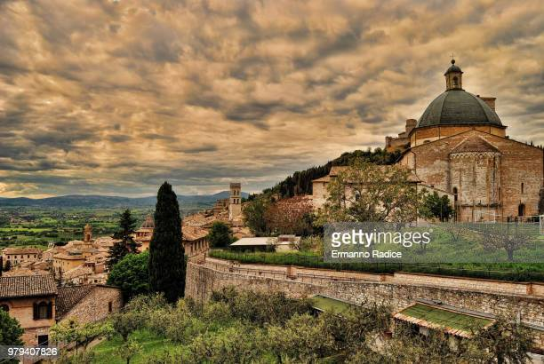 Overcast sky over old city, Assisi, Perugia, Italy