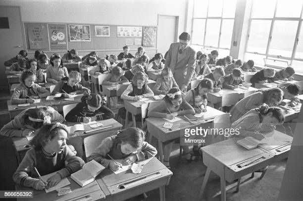 Overcrowded classes at the Mardyke Primary School in South Ockendon, Essex 11th January 1954.