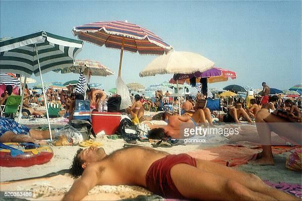 Overcrowded summer day at Stintino beach, Sardinia, Italy