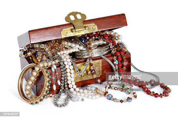 overflowing jewelry box - jewelry box stock pictures, royalty-free photos & images