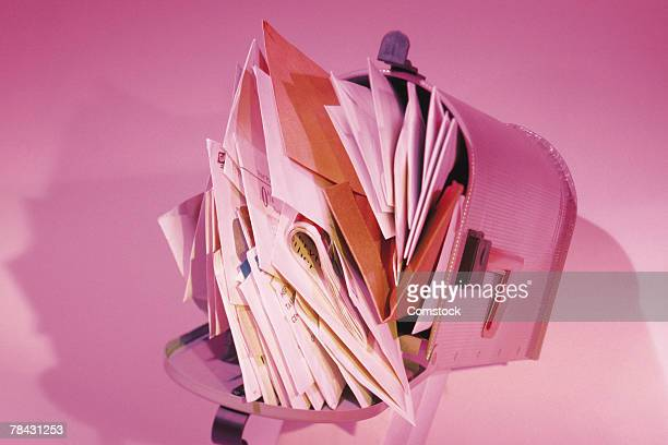 overflowing mailbox - junk mail stock pictures, royalty-free photos & images