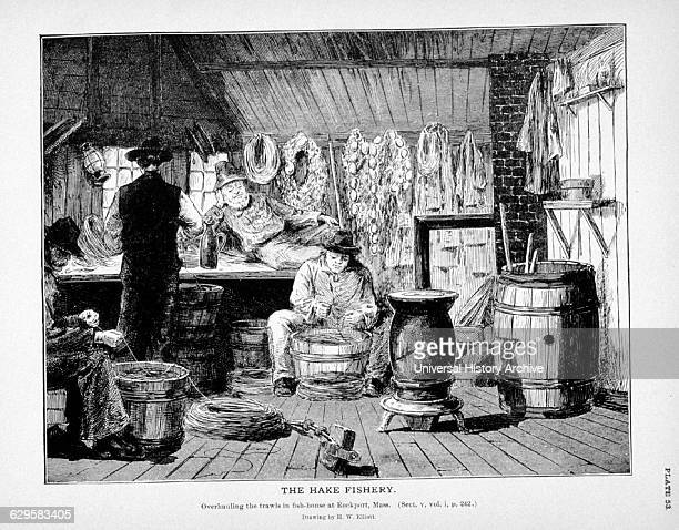 Overhauling trawls in fishhouse at Rockport Massachusetts Drawing by H W Elliott