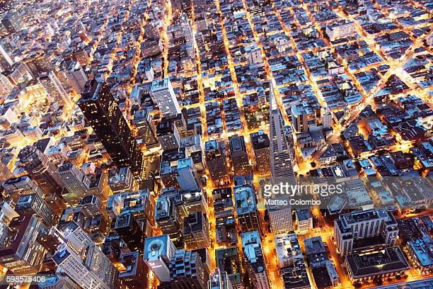 overhead aerial of  downtown at night, san francisco, usa - grid pattern stock pictures, royalty-free photos & images