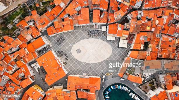 overhead aerial view of old town piran, slovenia - old town stock pictures, royalty-free photos & images