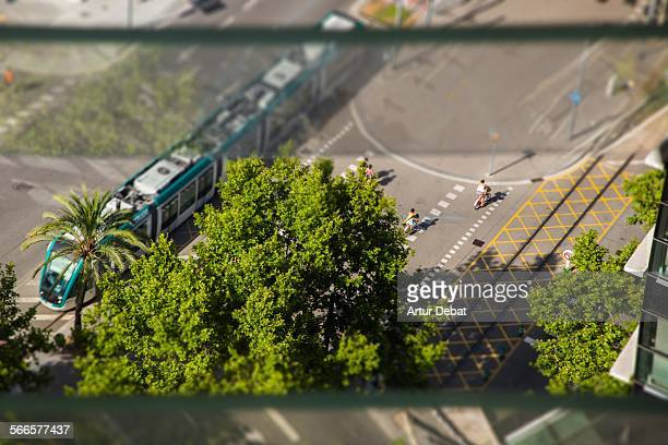 Overhead Barcelona intersection with tram.