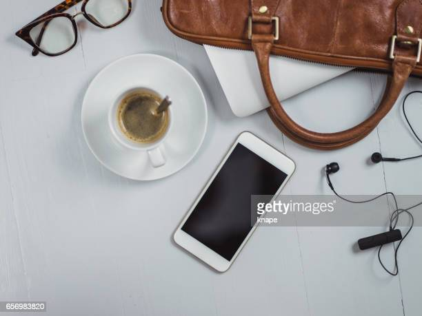 Overhead Business Angles still life of office desk