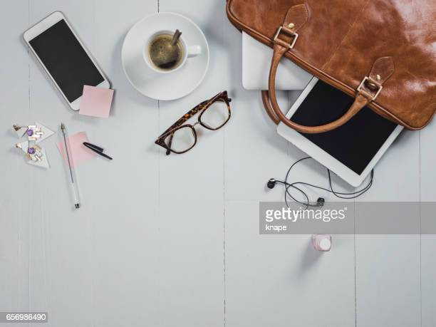 overhead business angles still life of office desk - reading glasses stock pictures, royalty-free photos & images