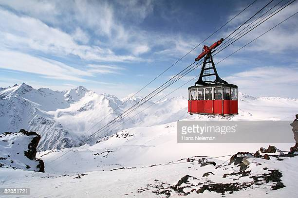 Overhead cable car moving through steel cables, Russia