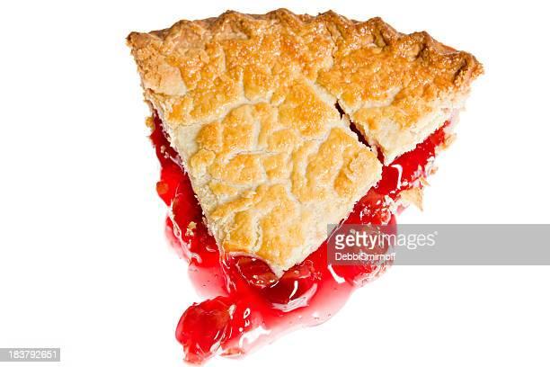 Overhead Cherry Pie Slice Isolated