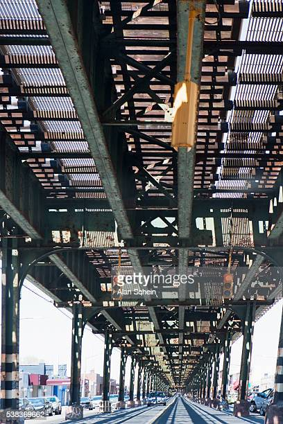 overhead el, over head train tracks - the bronx stock pictures, royalty-free photos & images