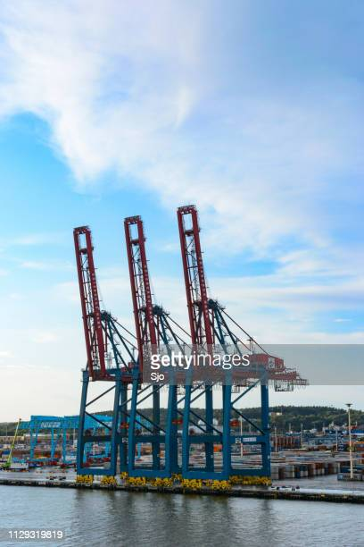 Overhead gantry cranes at a container terminal in the port of Gothenburg