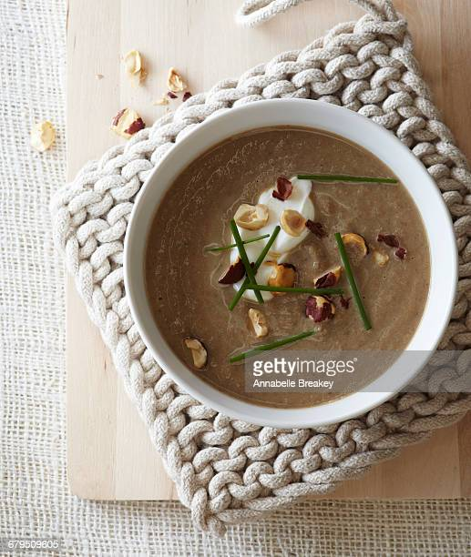 Overhead garnished mushroom soup in white bowl