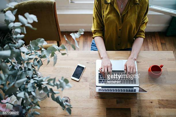 overhead image of a female blogger writing on the laptop - working from home stock pictures, royalty-free photos & images
