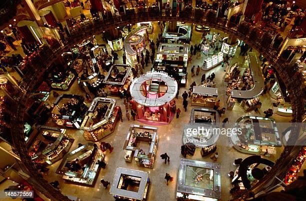 Overhead interior of Galleries Lafayette department store on Boulevard Haussman.