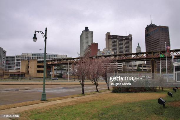 overhead monorail for the mud island river park on the mississippi river in downtown memphis, tennessee, usa - memphis bridge stock photos and pictures