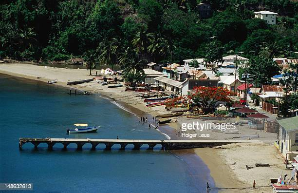 overhead of anse la raye. - raye stock pictures, royalty-free photos & images