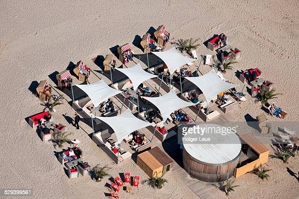 Overhead of beach bar with lounge chairs