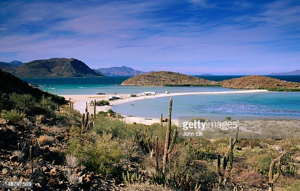 overhead of beach campground, bahia conception. - baja california peninsula stock pictures, royalty-free photos & images