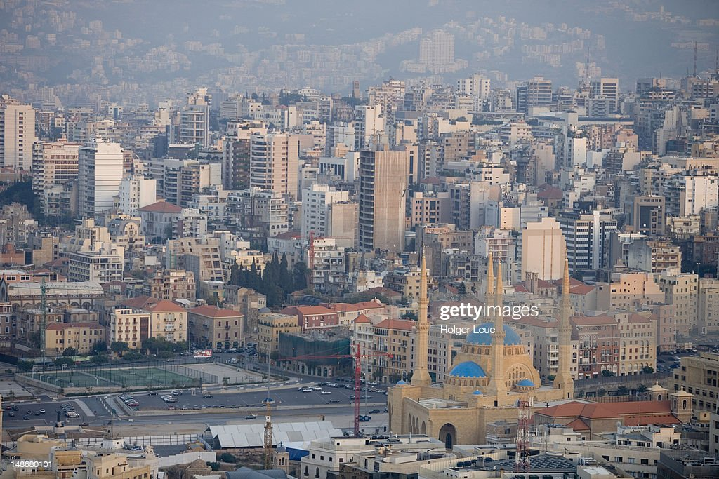 Overhead of Beirut city. : ストックフォト