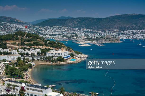 Overhead of Bodrum Bay and harbour with Castle of St. Peter(Bodrum Castle),Mugla Province,Turkey