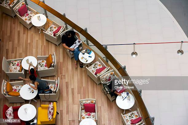 Overhead of cafe in a Bangkok department store.