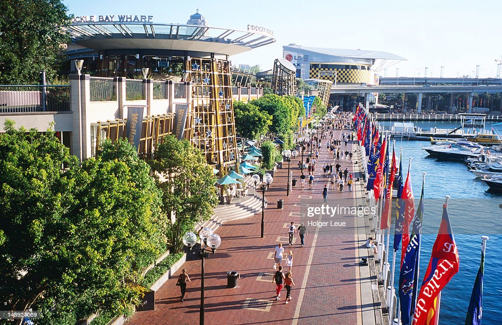 Overhead of Cockle Bay Wharf Complex, Darling Harbour. : Stock Photo