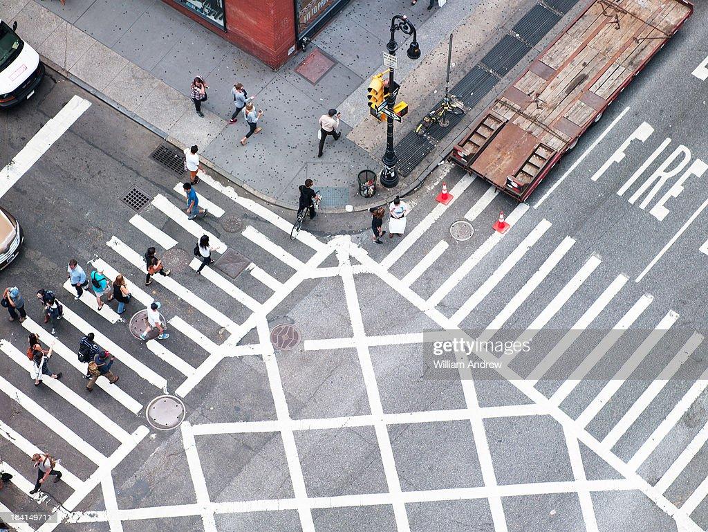 Overhead of crosswalk in New York City : Stock Photo