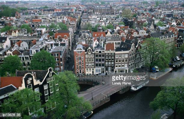 Overhead of gabled houses in the Joordan area, from tower of Westerkerk, Amsterdam, Netherlands