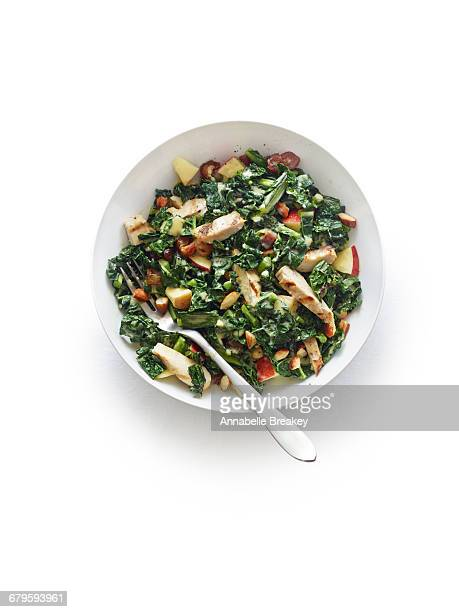 Overhead of kale, chicken and apple salad on white