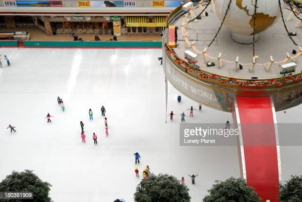 Overhead of Lotte World. Ice skating rink.