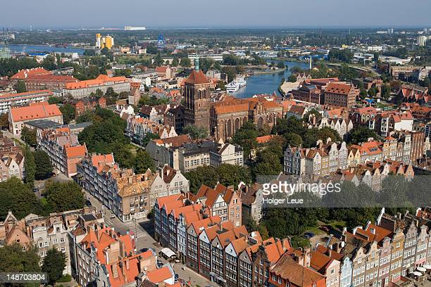 overhead of old town from st. mary's basilica church tower. - gdansk stock pictures, royalty-free photos & images