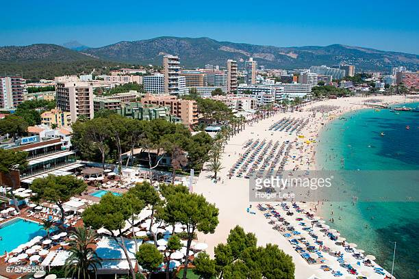 overhead of playa de magaluf beach - spain stock pictures, royalty-free photos & images