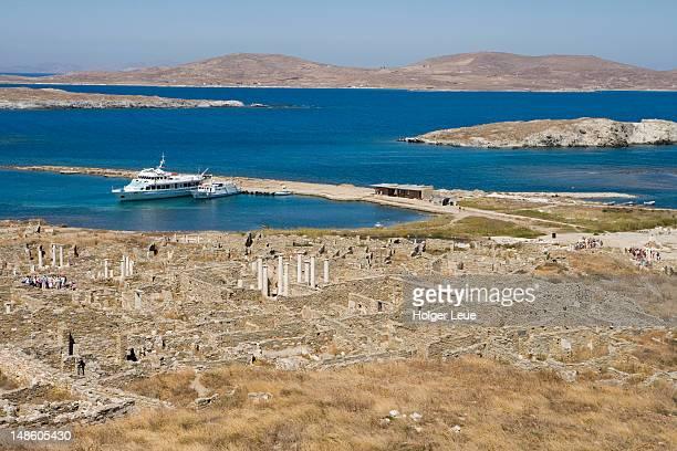 Overhead of ruins, Delos, Cyclades Islands.