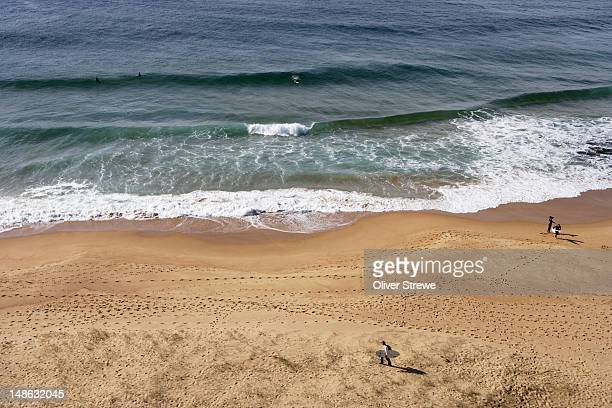 Overhead of sand and surf at Turimetta Beach, northern beaches.