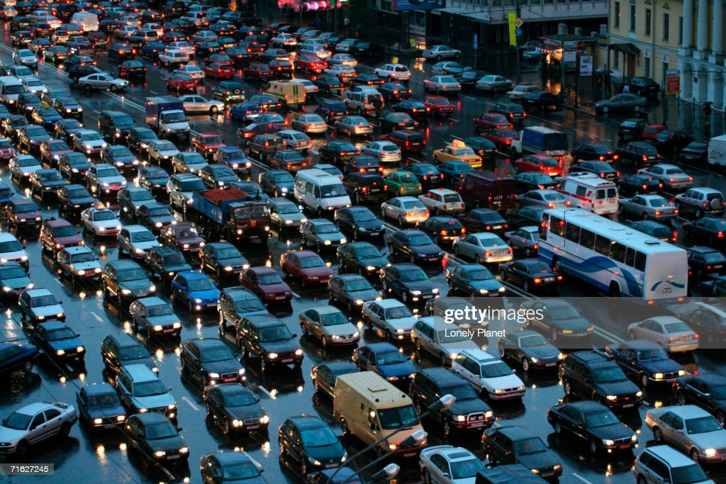 Overhead of traffic during evening rush hour, Garden Ring, Moscow, Russia : Stock Photo